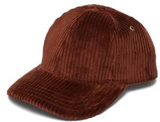Ami Logo-embroidered Cotton-corduroy Baseball Cap - Mens - Brown