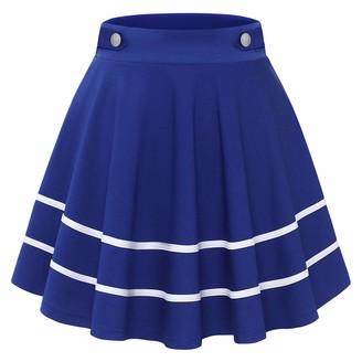Gardenwed Women's Mini Dress Basic High Waist Pleated Solid Casual Skater School Golf Club Party Stretchy Skirt Petticoat Burgundy XL