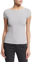 Armani Collezioni Cap-Sleeve Bicolor-Piping Top, Antique White