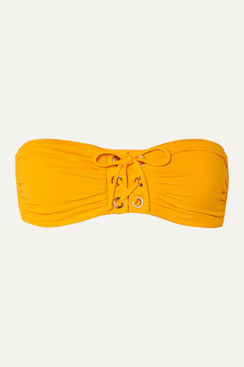 Melissa Odabash Malaysia Lace-up Bandeau Bikini Top - Saffron