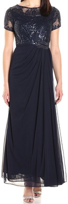 Alex Evenings Women's Long A-Line Detailed Bodice Dress