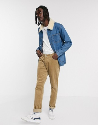 ASOS DESIGN denim jacket in blue with detachable fleece collar