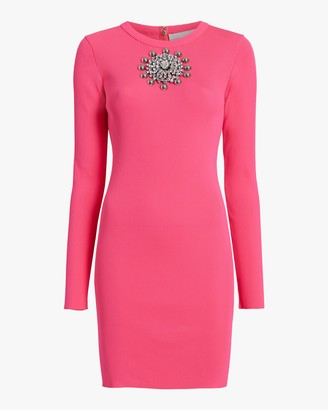 Christopher Kane Crystal-Neck Ribbed Mini Dress