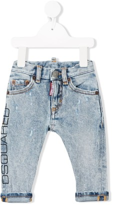 DSQUARED2 Light Wash Logo Print Jeans