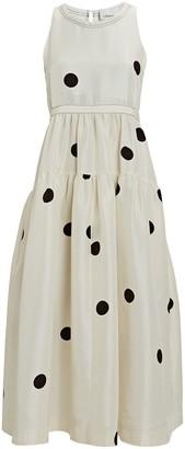 Silk Polka Dot Midi Dress