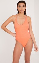 PrettyLittleThing Laila Coral Textured Cross Back Swimsuit