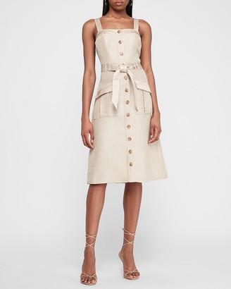 Express Linen-Blend Satin Trim Button Front Midi Dress