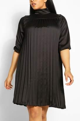 boohoo Plus Pleated Satin Swing Dress