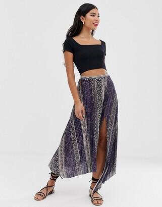 Asos DESIGN paisley print pleat maxi skirt with asymmetric hem and split