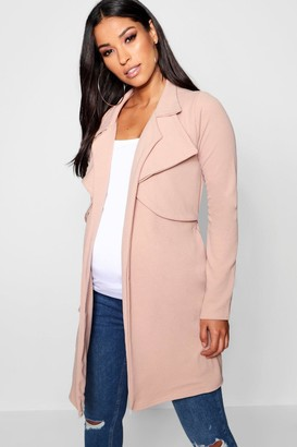 boohoo Maternity Double Breasted Duster Jacket