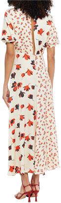 Self-Portrait Pleated Floral-print Satin-jacquard Maxi Dress