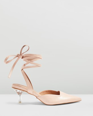 Topshop Jena Perspex Ankle Tie Heels