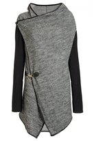 Quiz Grey And Black Knit Waterfall Cardigan