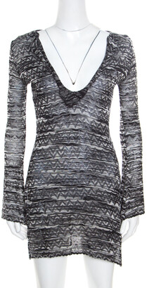 Missoni M Monochrome Chevron Patterned Perforated Knit Flared Sleeve Tunic S
