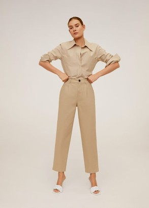 MANGO Relaxed fit cropped trousers coral red - 1 - Women