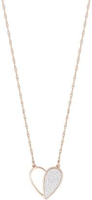 Bony Levy 18K Rose Gold Half Open Half Diamond Heart Pendant Necklace - 0.08 ctw
