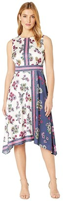 Maggy London Flower Garden Scarf Printed Fit and Flare (Ivory/Navy) Women's Dress