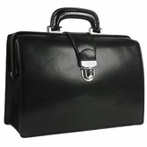 Forzieri Black Italian Leather Buckled Compact Doctor Bag