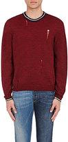 Lanvin Men's Distressed Wool Crewneck Sweater