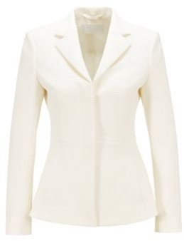 HUGO BOSS Regular Fit Jacket With Concealed Closure - White