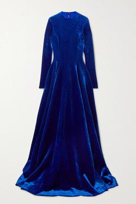 Balenciaga Bonded Velvet Gown - Blue