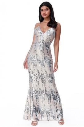 Goddiva 3D Sequin Strappy Maxi Dress - Champagne