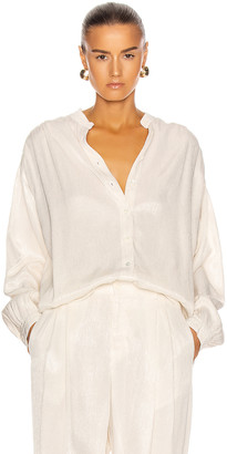 Raquel Allegra Shirred Blouse in Dirty White | FWRD