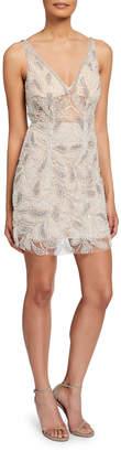 Jovani Sheer Beaded V-Neck Sleeveless Short Dress