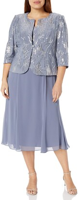 Alex Evenings Women's Plus Size Tea Length Mock Dress with Jacket