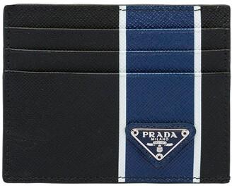 Prada Logo Striped Cardholder