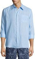 Vilebrequin Caroubier Linen Long-Sleeve Shirt, Bleu Ciel