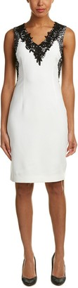 T Tahari Women's Lace V-Neck Crepe Dress