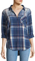 Current/Elliott The Boyfriend Indigo-Plaid Oversized Cotton Shirt