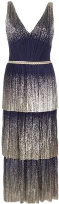 Marchesa pleated foil tiered midi dress