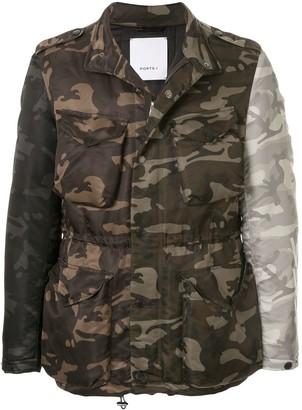 Ports V Asymmetric Camouflage Print Jacket