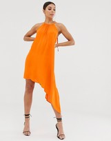 Club L London assymetric tie neck dress