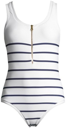 Heidi Klein One-Piece Textured Binding Nautical Swimsuit