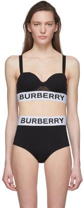 Burberry Black Solid Bikini Top