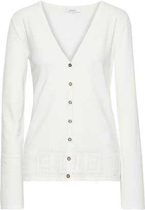 Versace Pointelle-trimmed Stretch-knit Cardigan