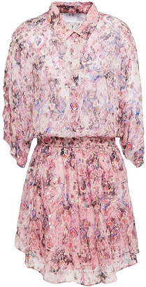 IRO Gathered Printed Metallic Fil Coupe Silk-blend Mini Dress