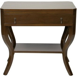 Noir Weldon End Table with Storage Color: Distressed Brown