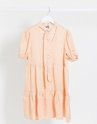 Lola May smock dress in check with neck tie