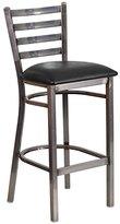 Flash Furniture Hercules Series Clear Coated Ladder Back Metal Restaurant Barstool with Vinyl Seat, Black