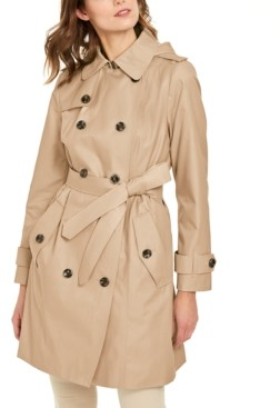 London Fog Petite Double-Breasted Hooded Water-Repellent Trench Coat