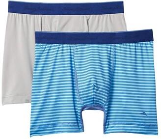 Tommy Bahama 2-Pack Mesh Tech Boxer Briefs (Aqua Stripe) Men's Underwear