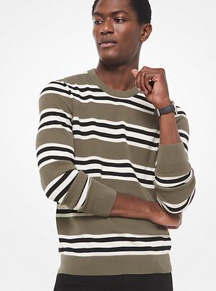 Michael Kors Striped Textured-Knit Cotton Sweater