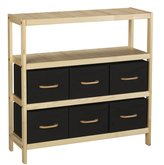 Household Essentials Natural Wood Frame Storage Unit with 3 Shelves and 6 Removable Bins