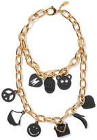 Moschino Layered gold-tone and coated metal necklace