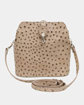 Gemma Taupe Ostrich embossed Italian Leather crossbody bag