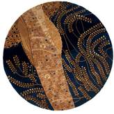 "Momeni Rugs NEWWANW-01BLU590R New Wave Collection, 100% Wool Hand Carved & Tufted Contemporary Area Rug, 5'9"" Round"